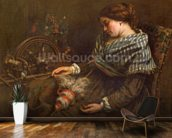 The Sleeping Embroiderer, 1853 (oil on canvas) mural wallpaper kitchen preview