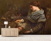 The Sleeping Embroiderer, 1853 (oil on canvas) mural wallpaper living room preview