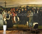 Burial at Ornans, 1849-50 (oil on canvas) wall mural kitchen preview