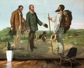 La Rencontre, or Bonjour Monsieur Courbet, 1854 (oil on canvas) mural wallpaper kitchen preview