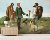 La Rencontre, or Bonjour Monsieur Courbet, 1854 (oil on canvas) mural wallpaper living room preview