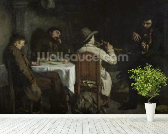 After Dinner at Ornans, 1848 (oil on canvas) wallpaper mural room setting