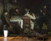 After Dinner at Ornans, 1848 (oil on canvas) wallpaper mural kitchen preview