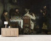 After Dinner at Ornans, 1848 (oil on canvas) wallpaper mural living room preview