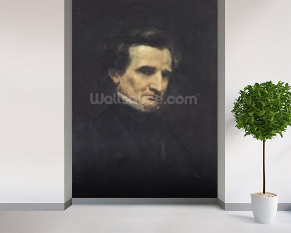 Hector Berlioz (1803-69) 1850 (oil on canvas) mural wallpaper room setting