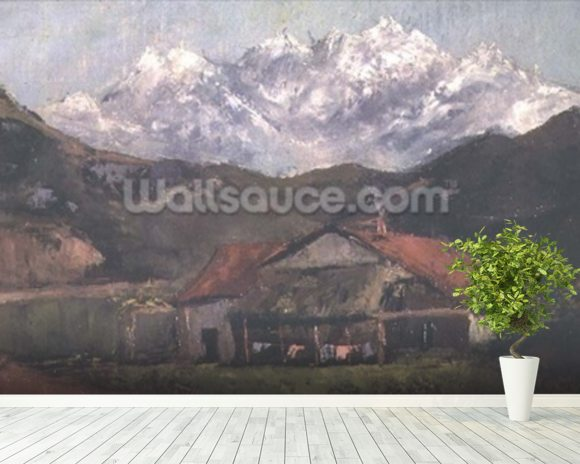 A Hut in the Mountains wall mural room setting