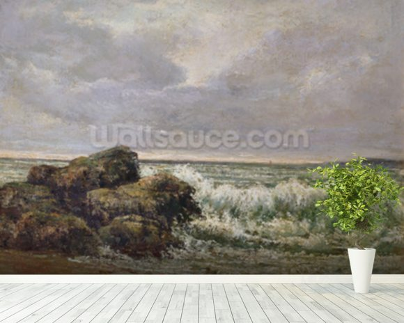 The Wave, 1869 (oil on canvas) wallpaper mural room setting