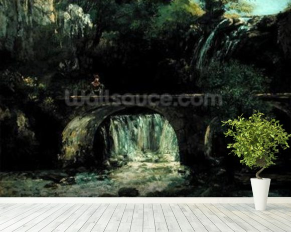 Landscape with bridge (oil on canvas) mural wallpaper room setting