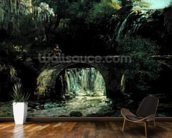 Landscape with bridge (oil on canvas) mural wallpaper kitchen preview