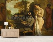 The Artists Studio, a Real Allegory, detail of the painter and his model, 1854-55 (oil on canvas) mural wallpaper living room preview