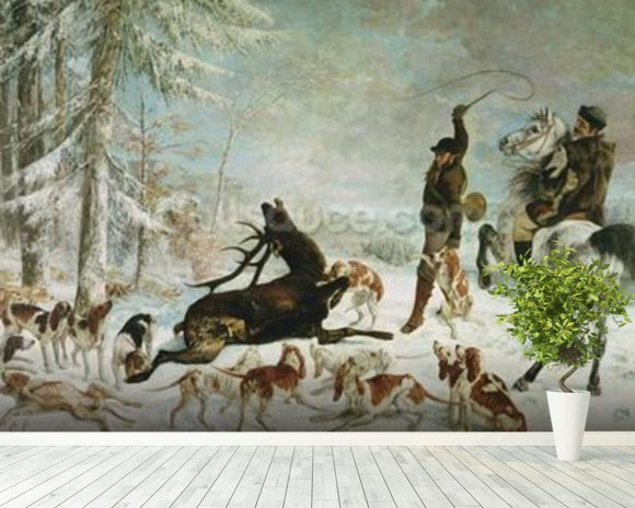 The Death of the Deer, 1867 (oil on canvas) wall mural room setting