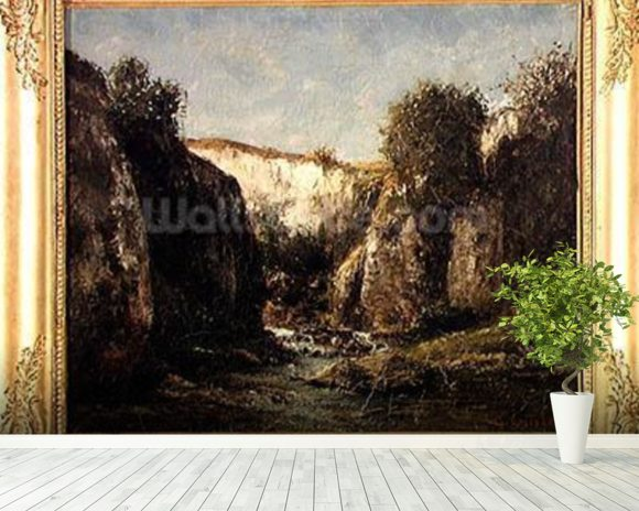 The Source of the Doubs, 1871 (oil on canvas) mural wallpaper room setting