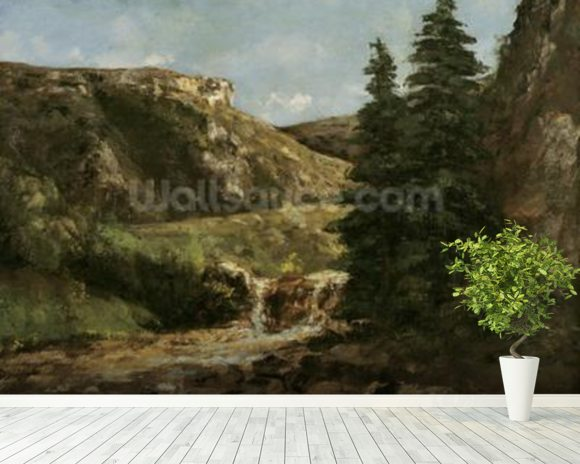 Landscape near Ornans, c.1858 (oil on canvas) wall mural room setting