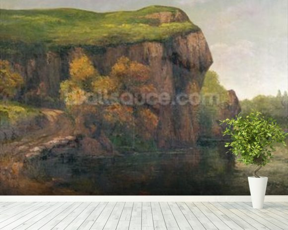 Rocky Cliffs (oil on canvas) wallpaper mural room setting