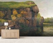 Rocky Cliffs (oil on canvas) wallpaper mural living room preview