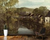 The Reflection of Ornans, c.1872 (oil on canvas) mural wallpaper kitchen preview