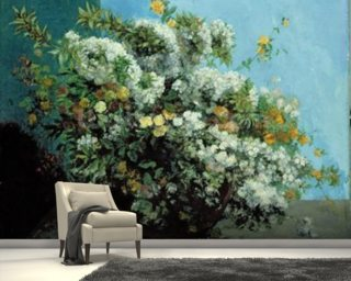 Flowering Branches and Flowers, 1855 (oil on canvas) wallpaper mural