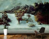 Winter Landscape With The Dents Du Midi, 1876 (oil on canvas) mural wallpaper kitchen preview