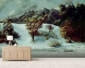 Winter Landscape With The Dents Du Midi, 1876 (oil on canvas) mural wallpaper living room preview