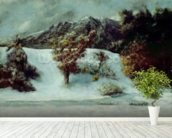 Winter Landscape With The Dents Du Midi, 1876 (oil on canvas) mural wallpaper in-room view