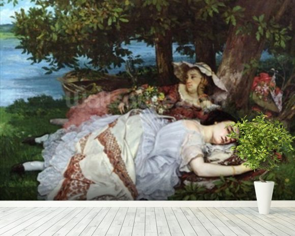 Girls on the Banks of the Seine, 1856-57 (oil on canvas) mural wallpaper room setting