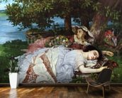 Girls on the Banks of the Seine, 1856-57 (oil on canvas) mural wallpaper kitchen preview