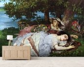 Girls on the Banks of the Seine, 1856-57 (oil on canvas) mural wallpaper living room preview