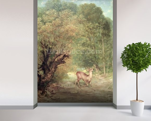 Courbet gustave the hunted roe deer on the alert wall for Deer mural wallpaper