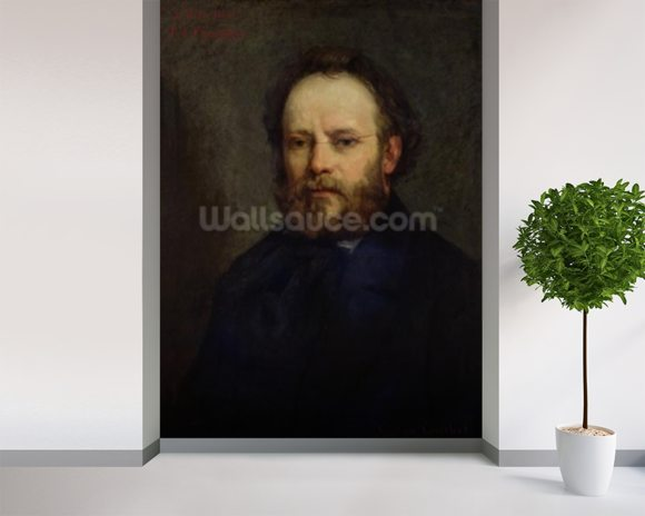 Portrait of Pierre Joseph Proudhon (1809-65) 1865 (oil on canvas) wallpaper mural room setting