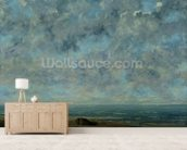 The Sea, c.1872 (oil on canvas) mural wallpaper living room preview