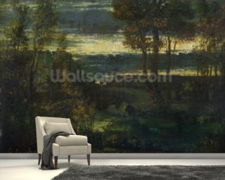 Evening Landscape (oil on canvas) wallpaper mural