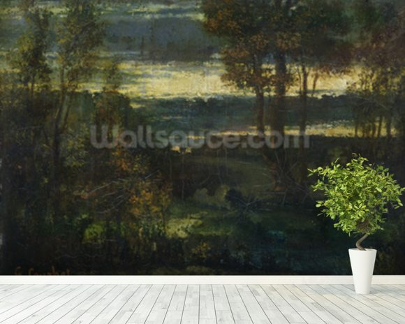 Evening Landscape (oil on canvas) wallpaper mural room setting