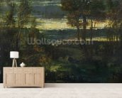 Evening Landscape (oil on canvas) wallpaper mural living room preview
