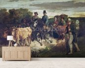 The Peasants of Flagey Returning from the Fair, 1850-55 (oil on canvas) wall mural living room preview