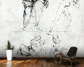 Study of a man blowing a trumpet in anothers ear, and two figures in conversation, c.1480-82 (pen and ink on paper) wall mural kitchen preview