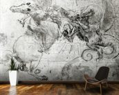 Battle between a Rider and a Dragon, c.1482 (stylus underdrawing, pen and brush on paper) mural wallpaper kitchen preview