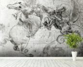Battle between a Rider and a Dragon, c.1482 (stylus underdrawing, pen and brush on paper) mural wallpaper in-room view