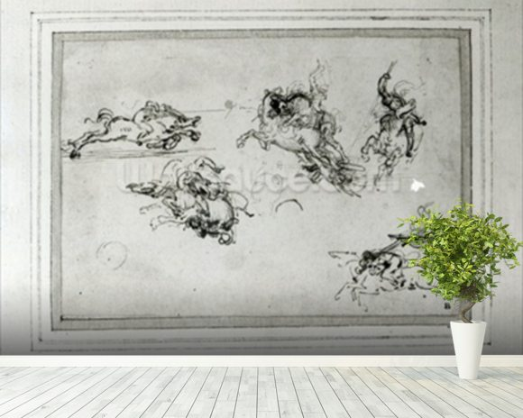 Study of Horsemen in Combat, 1503-4 (pen and ink on paper) wall mural room setting