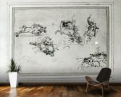 Study of Horsemen in Combat, 1503-4 (pen and ink on paper) wall mural kitchen preview