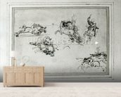 Study of Horsemen in Combat, 1503-4 (pen and ink on paper) wall mural living room preview