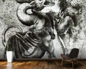 Fight between a Dragon and a Lion (brown ink with wash on paper) wallpaper mural kitchen preview