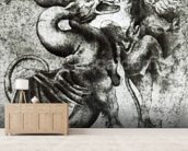 Fight between a Dragon and a Lion (brown ink with wash on paper) wallpaper mural living room preview
