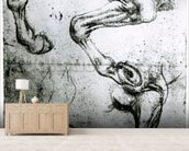 Studies of Horses legs (pen and ink on paper) mural wallpaper living room preview