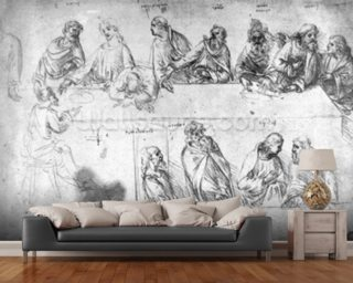 Preparatory drawing for the Last Supper (sepia ink on linen paper) wall mural