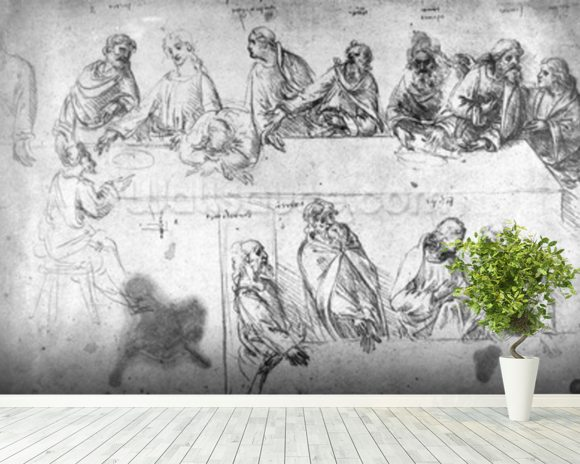 Preparatory drawing for the Last Supper (sepia ink on linen paper) wall mural room setting