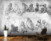 Preparatory drawing for the Last Supper (sepia ink on linen paper) wall mural kitchen preview