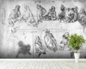 Preparatory drawing for the Last Supper (sepia ink on linen paper) wall mural in-room view