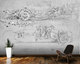 Scythed Chariot, c.1483-85 (pen and ink on paper) mural wallpaper