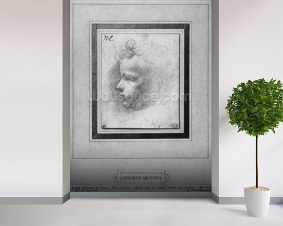Head of a child (pencil on paper) (b/w photo) wallpaper mural room setting