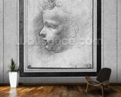 Head of a child (pencil on paper) (b/w photo) wallpaper mural kitchen preview